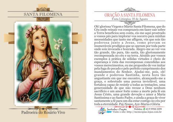 Resultado de imagem para Oração a Santa Filomena