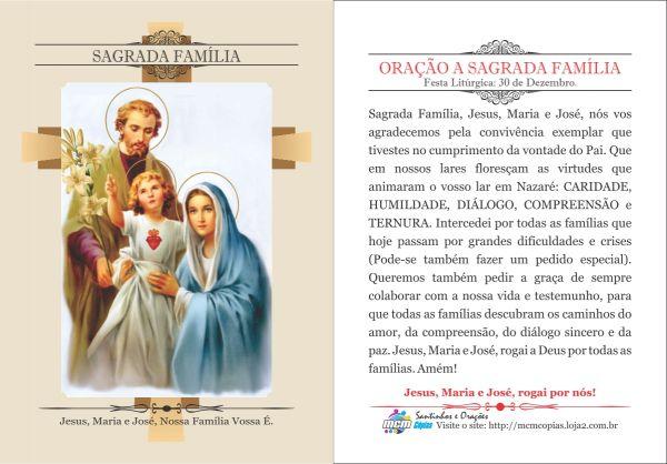 Mensagem De Proteção A Familia Ud95: Santinhos E Orações
